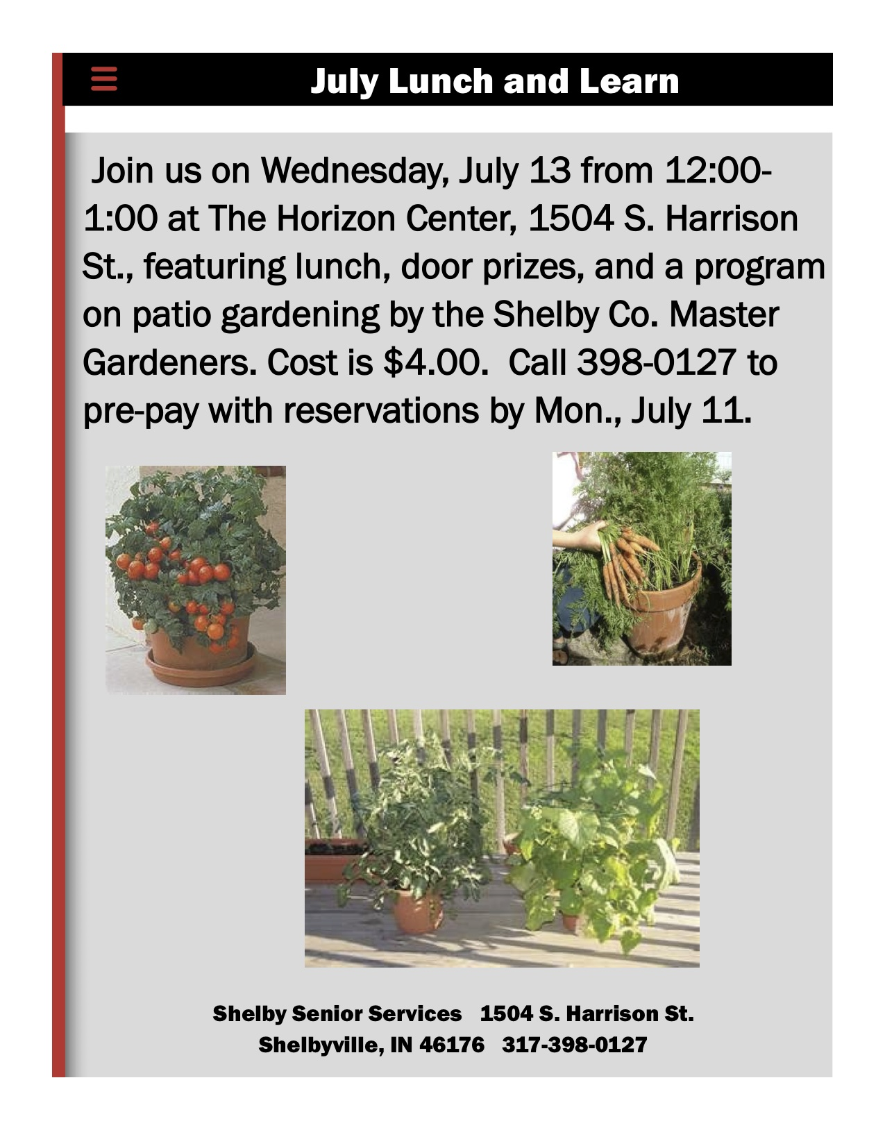 July Lunch and Learn flier Shelby Senior Center Shelbyville, Shelby County, Indiana