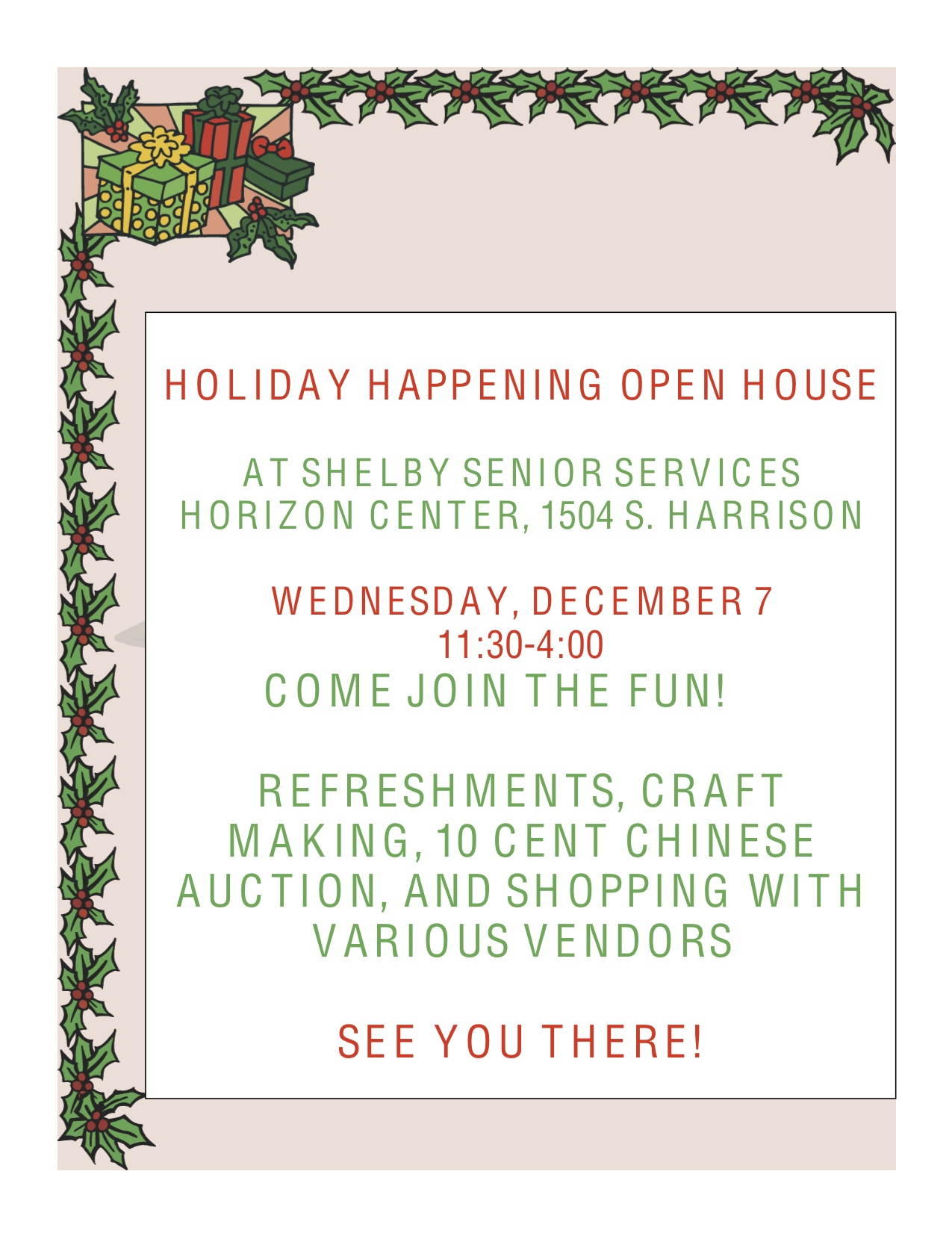 Senior Services HOLIDAY HAPPENING FLYER