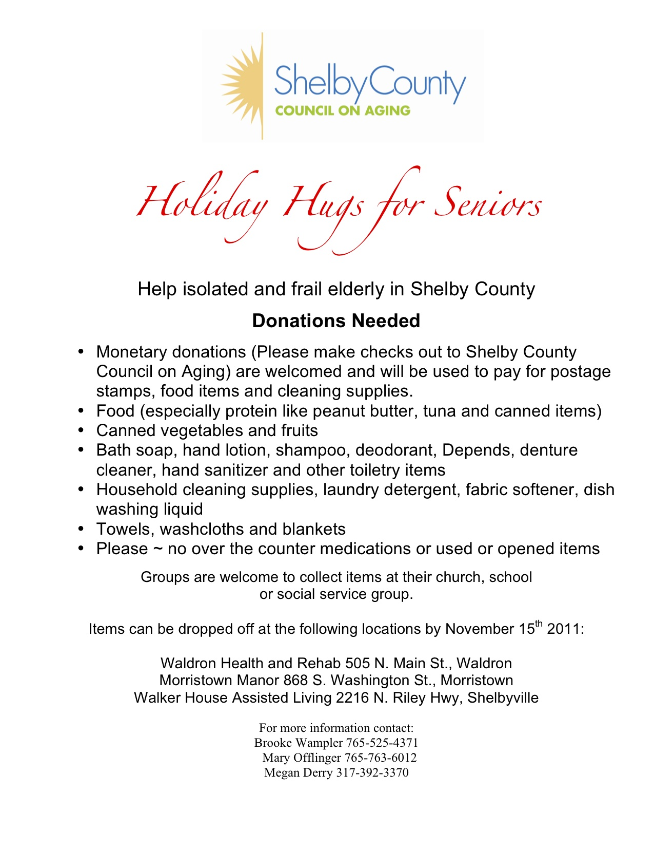 Holiday Hugs for Seniors Flier 2012