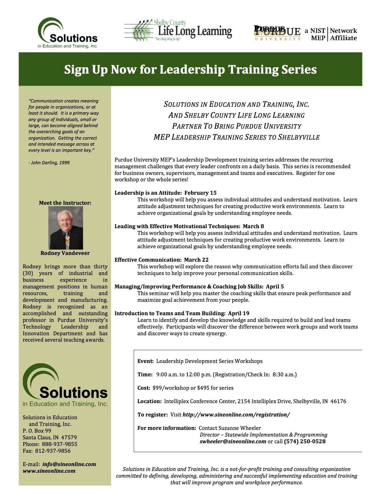 Flier for Leadership Training Series in Shelbyville