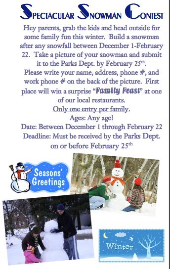 Spectacular Snowman Contest flyer