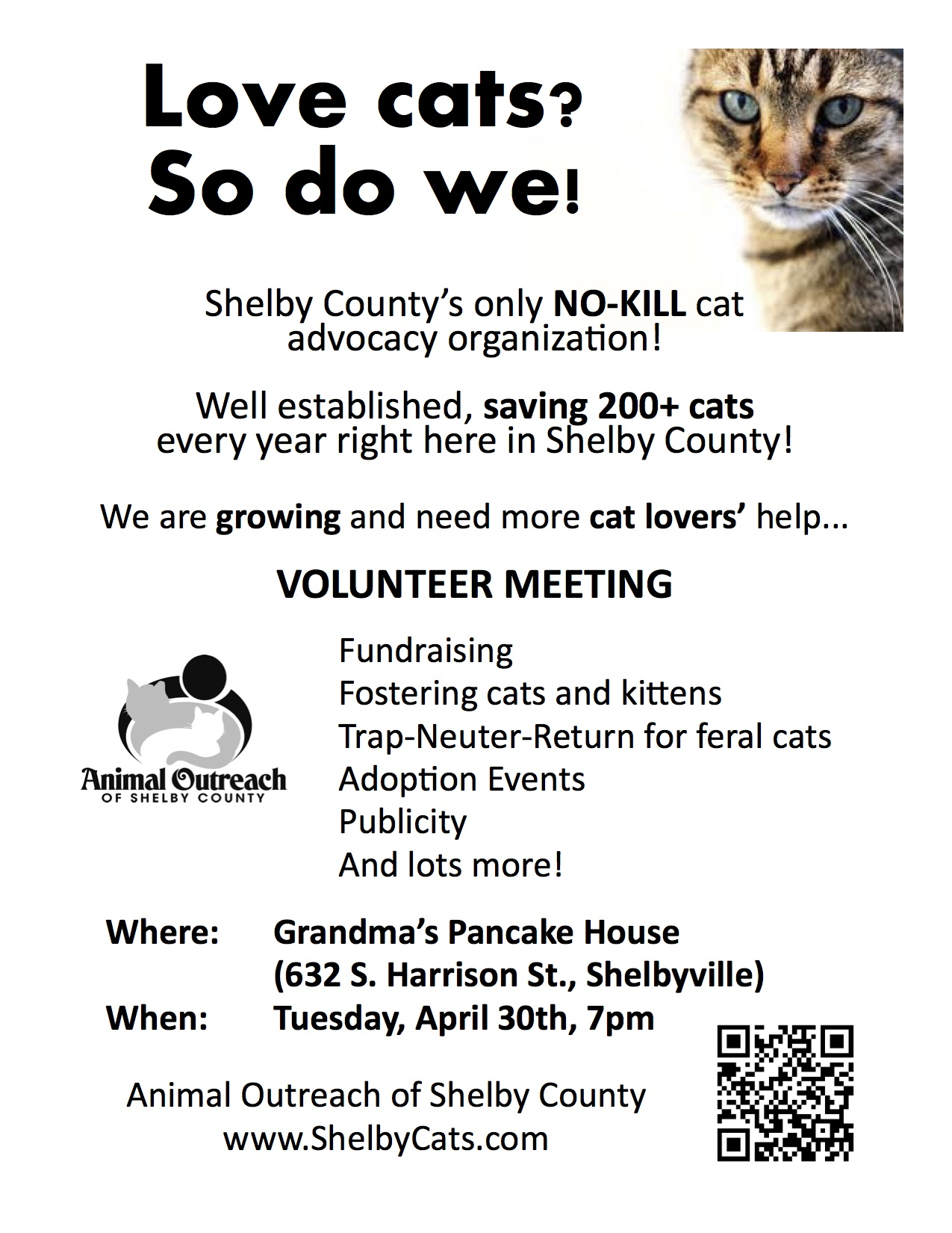 Animal Outreach Volunteer Meeting Flyer