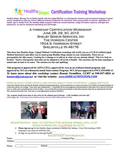 Healthy Steps Certification Training Workshop ShelbyvilleToday ...