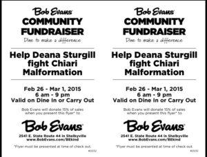 Help Deana Sturgill Fight Chiari Malformation @ Bob Evans