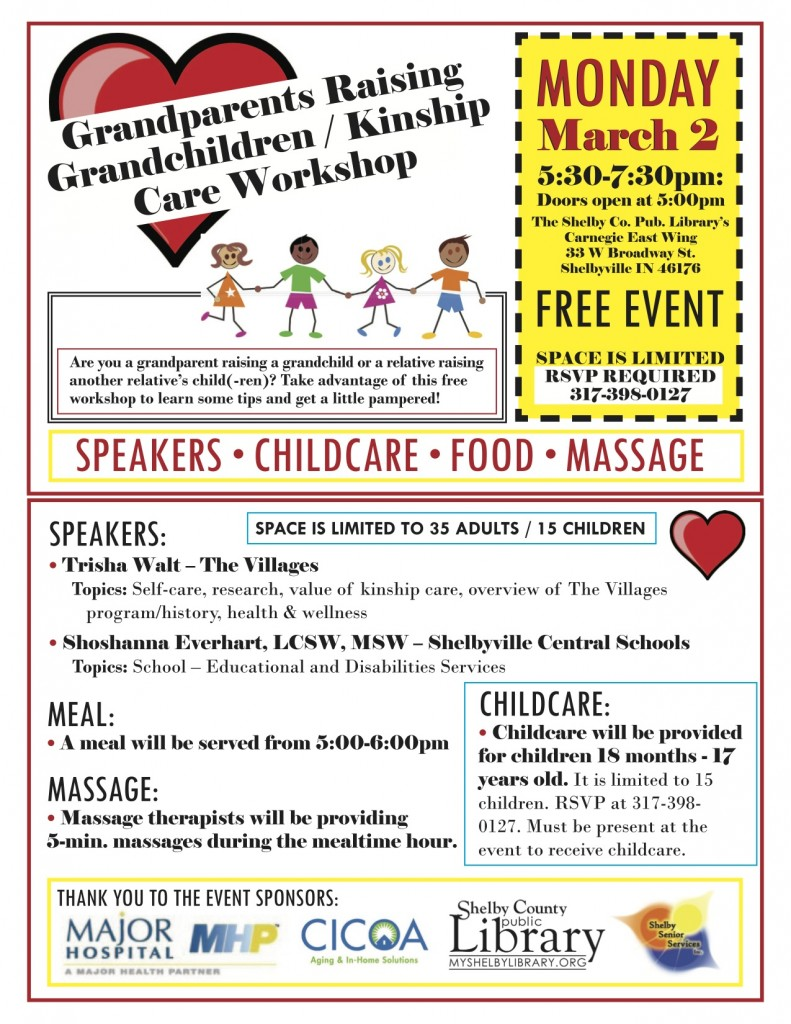 Grandparents Raising Grandkids @ Shelby County Public Library Carnegie East Wing | Shelbyville | Indiana | United States