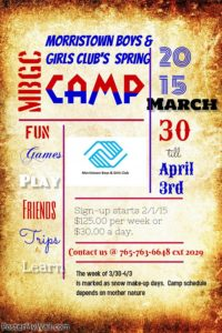 Morristown Boys & Girls Club Spring Camp @ Morristown Boys & Girls Club | Morristown | Indiana | United States