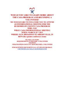 CASA Program Informational Meeting @ Blue River Community Foundation Building | Shelbyville | Indiana | United States