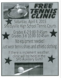 Free Tennis Clinic @ Shelbyville High School Tennis Courts