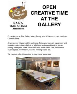 Creative Time at the Gallery @ The Gallery | Shelbyville | Indiana | United States
