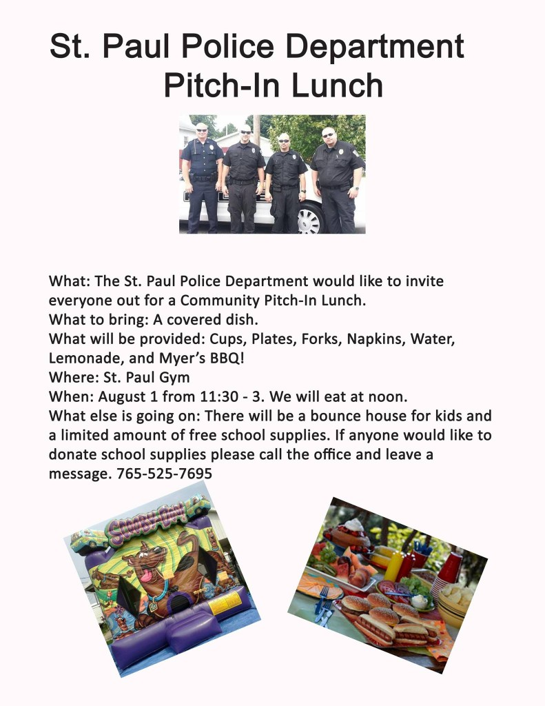 St. Paul Police Department Pitch-In Lunch @ St. Paul Gym