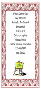 Wine and Canvas Class @ Shelby County Fairgrounds