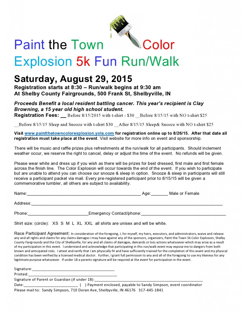 Paint the Town Color Explosion 5k Fun Run/Walk
