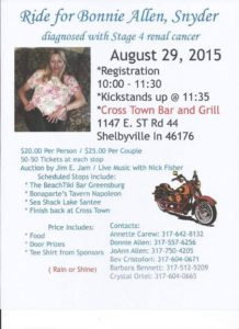 Bonnie Allen Snyder Benefit Ride @ Cross Town Bar and Grill | Shelbyville | Indiana | United States