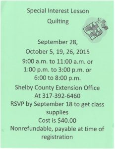 Quilting Lesson @ Shelby County Professional Building