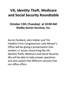 VA, Identity Theft, Medicare, and Social Security Roundtable @ The Horizon Center - Shelby Senior Services