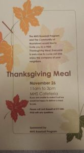 Thanksgiving Meal @ Morristown Junior-Senior High School