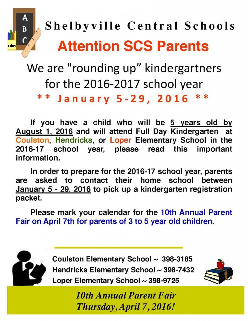 2016-2017 Kindergarten Roundup Fyler