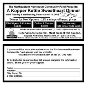 Kopper Kettle Sweetheart Dinner @ The Kopper Kettle Inn | Greenfield | Indiana | United States